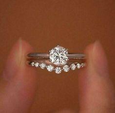 1Ct Round Cut Moissanite Engagement Ring Crown Wedding Band 14k White Gold Over  | eBay