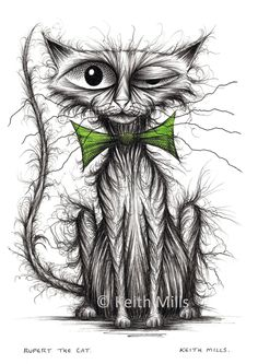Rupert the cat Print download Nasty shabby scruffy skinny pet puss kitty pussycat moggie with grumpy face who's in a bad mood Animal image by KeithMills on Etsy