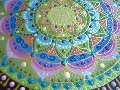 zöld Nap-spirál mandala részlet / green Sun-spiral mandala detail
