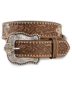 Tony Lama Prairie Cross Tooled Leather Belt