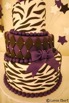 Birthday cake ideas!-Purple & Black Zebra Topsy Turvy Cake!- I don't even like purple but I love this cake!