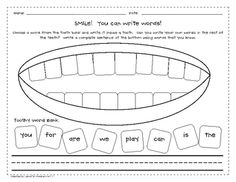 This is a simple worksheet for writing high frequency words.  Students can use the word bank to write words in the teeth and then write their own w...