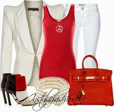 White jeans, red shirt, red purse, red and brown shoes, off white blazer Stylish Eve, Stylish Outfits, Cool Outfits, Work Fashion, Fashion Outfits, Womens Fashion, Off White Blazer, White Pants, Red Purses