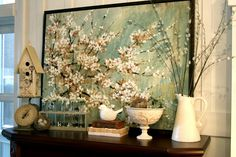 Spring mantel from Home Stories A to Z blog