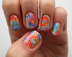 PlumeriaPainted: Rainbow Paisley #nail #nails #nailart
