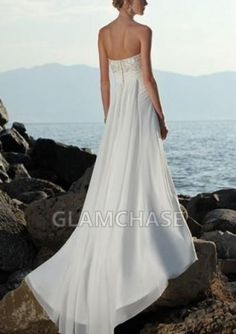 Flower White Backless Sweep Train Sleeveless A-line Strapless Dresses