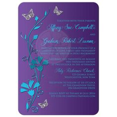 Best turquoise or teal blue and purple floral wedding invite with flowers and silver butterflies.