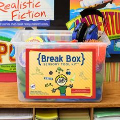 Break boxes are a great resource to use in the classroom. These boxes help students with autism take time away from activities, anything that might over stimulate them, when they are done their activities, or if the class is just too loud for them. It's important to provide the resources for them to give them different coping strategies for when they are upset, bored or frustrated. It creates independence and it could be a form of stress relief.