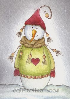 Snowman by dragonflywatercolors on DeviantArt Whimsical Christmas, Noel Christmas, Christmas Crafts, Watercolor Christmas Cards, Watercolor Cards, Winter Pictures, Christmas Pictures, Illustration Noel, Illustrations