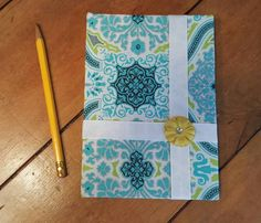 Green, white, blue and yellow fabric covered journal, diary,log, poetry,floral fabric by CloudBerryTrails on Etsy