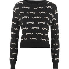 Tammie Knitted Moustache Jumper ($21) ❤ liked on Polyvore featuring tops, sweaters, black, black jumper, jumper top, long sleeve sweaters, mustache sweater and long sleeve tops