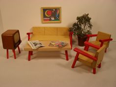 Dollhouse Furniture - Modern Living Room - Solid Wood In Small Scale