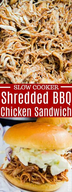 Slow Cooker Pulled BBQ Chicken - I LOVE this recipe. It's so simple and easy to make and taste amazing. Crockpot Shredded Bbq Chicken, Shredded Chicken Sandwiches, Pulled Chicken Recipes, Chicken Sandwich Recipes, Slow Cooker Huhn, Slow Cooker Bbq, Bbq Ribs, Barbecue, Cheap Bbq