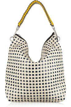 Marni - Woven patent-leather and raffia shoulder bag