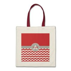 Red Gray Chevron Tote Bag - red gifts color style cyo diy personalize unique