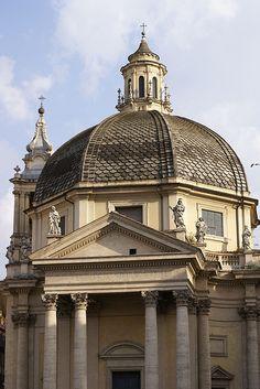 Rome, Piazza del Popolo, Santa Maria in Montesanto.