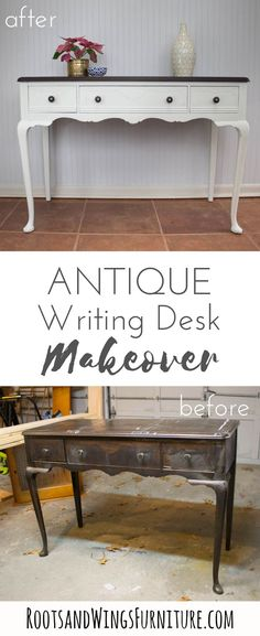 Antique writing desk makeover in General Finishes Antique White and Espresso stain. Makeover by Jenni of Roots and Wings Furniture.