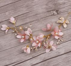 Wedding Bridal Vintage Gold Leaf Pink Flower Pearl Tiara Headpiece Hair Piece #Tiara