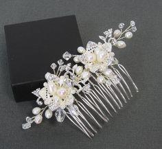 Pearl Flower Bridal Comb, Bridal hair comb, Wedding hair accessories, Bridal Headpieces, Rhinestone hair comb bridal Ready to ship. $35.00, via Etsy.