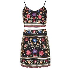 Abi Black Floral Crop Top and Mini Skirt Co-ord found on Polyvore featuring dresses, skirts, floral cami, floral camisole, cropped camisoles, floral two piece and strappy cami