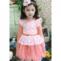 $11.11 Korean Fashionable Style Long Sleeves Lace And Kitten Pattern Design Dress For Kids