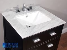 "Give your bathroom an upscale appearance with this elegant bathroom vanity. A beautiful polished Carrara marble top completes the perfect look.      Espresso color cabinet.  Crafted of birch wood.  White Cararra marble top.   White porcelain sink.  Base ships assembled with the sink and the marble top.  Side cabinet available.  Vanity has opening for plumbing.  Counter top has 3 pre-drilled holes for 8"" spread faucet.  Matching mirror available but not included."
