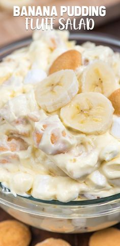 This isn't any old Banana Pudding recipe – it's a Banana Pudding Fluff Salad! This easy no-bake dessert salad is full of bananas and Nilla Wafers and is the perfect alternative to traditional banana pudding. Get the recipe: BANANA PUDDING FLUFF SALAD Watergate Salad Recipes, Fruit Recipes, Dessert Recipes, Cooking Recipes, Food Recipes Summer, Cooking Ribs, Fluff Desserts, Easy No Bake Desserts, Delicious Desserts