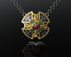 UNDERWORLD Lucian's Amulet Revised. 14kt European gold, English 925 silver, garnet, emerald. Werewolf, Lycan, Vampire, Elder, Selene.