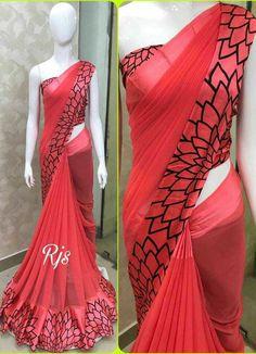 Stylish satin patta printed saree with blouse