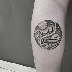 50 Mysterious Yin Yang Tattoo Designs A simple yet beautiful looking Yin Yang tattoo. The elements are separated and on one side the mountains and land are depicted while the other half is filled with water and aquatic life forms. Tattoo Life, Sea Tattoo, Ocean Tattoos, Nature Tattoos, Body Art Tattoos, Tatoos, Desert Tattoo, Dot Tattoos, Geometric Tattoos