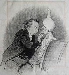 """Honoré Daumier. """"Le Charivari"""", 11. September 1844. Original text: UNE HEUREUSE TROUVAILLE. Parbleu ! je suis ravi... vous avez la fièvre jaune... C'est la première fois de ma vie que j'ai le bonheur d'en soigner une !"""