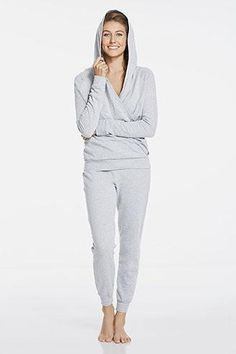 This is your updated tracksuit. Get cozy at home or on the move in a brushed, fleece hoodie with a high-style draped front. Coordinate the look with matching French terry sweatpants that pamper your bottom half. | Hemisphere Outfit - Fabletics