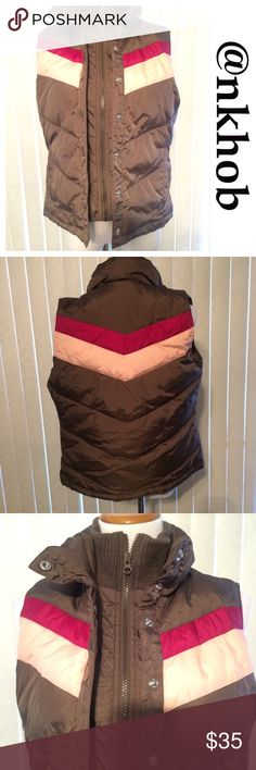 Old Navy Vest Old Navy vest with snap and zippered closures.  Brown with two shades of pink stripes. EUC Old Navy Jackets & Coats Vests