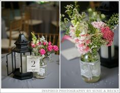 Shades of pink, white, and spring green in a  simple, rustic style
