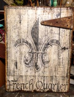 Reclaimed wood with old hinge
