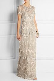 Needle & ThreadTiered Petal embellished tulle gown
