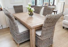 Reclaimed Teak Taplock Dining Table  with Natural Wicker chairs, eco furniture from sustainably sourced timber