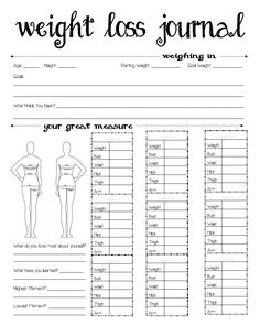 Weight Loss Journal Free Printable