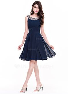 A-Line/Princess Scoop Neck Knee-Length Ruffle Beading Zipper Up Cap Straps Sleeveless No 2015 Dark Navy Spring Summer Fall General Plus Chiffon Cocktail Dress