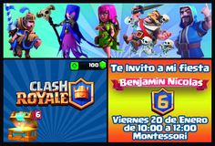 Invitación clash royale Clash Royale, Holidays And Events, Arcade Games, Comic Books, January 20, Bottles, Invitations, Cards, Party
