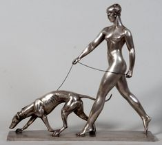 Woman with hound Art Deco sculpture