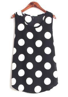 / Black Polka Dot Print Sleevel Chiffon Vest