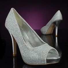 A classic sparkly silver pump that should be in every girl's closet! Mylie by Lava, MetalllicBridalShoes.com & PromShoes.com.