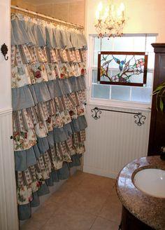 Ruffled Shower Curtain  Vintage Garden Cream by MaribelClaribel, $195.00