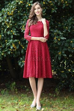 Red color. half sleeves, lace mother of bridal dress, short formal dress,