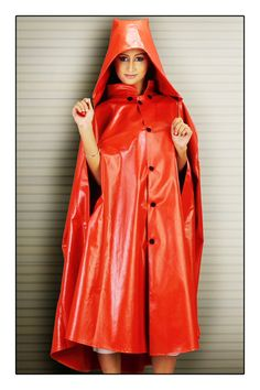 SADHANA Rubber Raincape. She looks so cute in this with the hood!