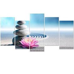 Create a relaxing refuge in your home with lotus flower wall art. You can use lotus flower wall decor in any room of your home but especially bedrooms, living rooms and bathrooms.  Although I love it in my office.  You can find cute lotus flower clocks, lotus flower wall tapestries, lotus flower wall decals, lotus flower wall murals that loook cute. Visual Art Decor Zen Yoga Room Wall Picture Giclee Canvas Prints White Sand Stone Lotus Flowers