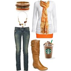 Easy Fall Outfit that anyone can pull off for cheep! Love the boots! by chelseawate on Polyvore