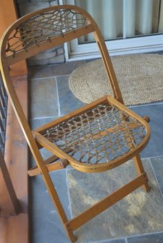 Snowshoe Chair Old Fashioned Decor Baskets Folding Rustic