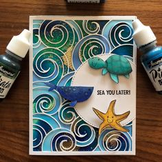 My first alcohol ink background using Piñata alcohol inks! They were easy to use and a great price! I also used SSS Under Sea Animals and… Alcohol Ink Crafts, Alcohol Ink Art, Aliexpress Dies Cards, Envelopes, Nautical Cards, Beach Cards, Mom Cards, Animal Cards, Card Tutorials